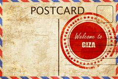 Stock Illustration of Vintage postcard Welcome to giza