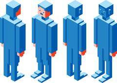 Cubic Character - stock illustration