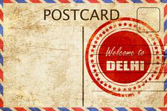 Vintage postcard Welcome to delhi - stock illustration