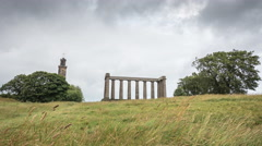 Nelson Monument and National Monument of Scotland, Edinburgh - Time Lapse Stock Footage