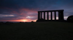 The National Monument of Scotland in Edinburgh at sunrise - Time Lapse Stock Footage