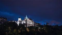 Bank of Scotland from Princes Street Gardens at night, Edinburgh - Time Lapse Stock Footage