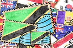 Tanzanian vintage  postal stamp - stock illustration