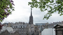 The Hub's tower and its surroundings, Edinburgh - Time Lapse Stock Footage