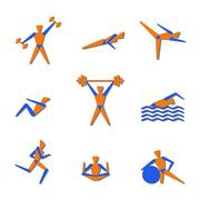 People exercising for health and fitness - stock illustration
