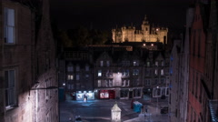 George Heriot's School seen from W Bow at night, Edinburgh - Night Time Lapse Stock Footage