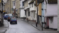 Traffic cars historic street Saffron Walden England 4K Stock Footage