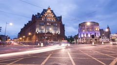 The Caledonian and The Rutland Hotels at dawn, Edinburgh - Time Lapse Stock Footage
