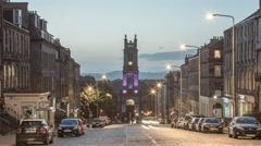 St Stephen's Church on Saint Vincent street at dawn, Edinburgh - Time Lapse Stock Footage