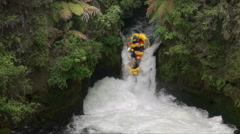 Whitewater rafting new zealand's tutea falls Stock Footage