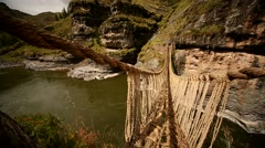 Inka grass bridge Q'Eswachaka in Andes of Peru Stock Footage