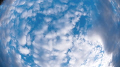 Clouds shot wide angle lens of the rotation camera Stock Footage