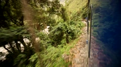 Train from Cusco to the Inca City Machu Picchu in the sacred valley Stock Footage