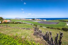 Panorama of Santa Cruz on the island of Flores Azores Portugal Stock Photos