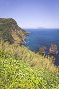 Landscape of the island of Flores. Azores, Portugal - stock photo