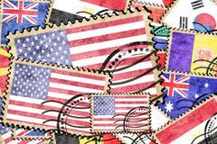 America vintage  postal stamp Stock Illustration