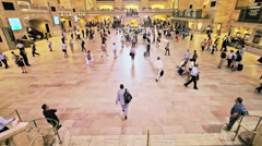 Grand Central Station NYC travel wide people day New York City high angle view Stock Footage