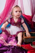 Little young east girl, sultana, Princess in Indian dress sari b - stock photo