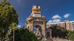 Golden Statue of Aurora of the Waterfall timelapse hyperlapse in Ciutadella Park Stock Footage