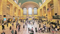 Grand Central Station Terminal NYC wide people walk travel day New York City Stock Footage