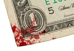 US one Dollar bill, close up, blood Stock Photos