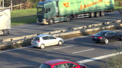 Highway and road traffic in France - Cars and trucks background - slowmotion Stock Footage