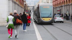 Center of Nice in France. System of transportation by tramway. Stock Footage