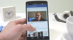 4K Browsing Facebook App on Android Phone Stock Footage