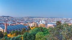 View from Montjuic over Barcelona day to night timelapse, Catalonia, Spain Stock Footage