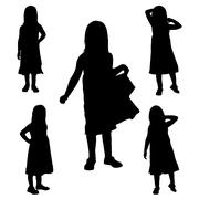 Vector silhouette of the girl. - stock illustration