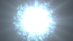 Hydrogen. Chemical element of periodic table. Star explosion Stock Footage