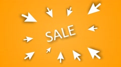 "Word with emphasis on ""SALE"" ... The arrows point to a sale - stock footage"