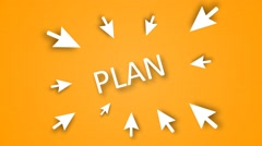 "Business strategy planning as a concept. Emphasis on the word ""PLAN"" Stock Footage"
