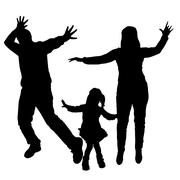 Vector silhouettes of dancing people. - stock illustration