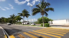 Caribbean street road with cars Stock Footage