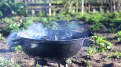 Burning coal in barbecue Stock Footage
