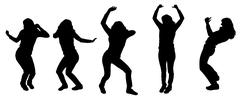 Vector silhouettes of dancing people. Stock Illustration