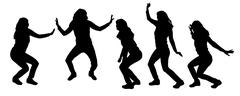 Stock Illustration of Vector silhouettes of dancing people.
