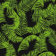 Tropical jungle palm leaves vector pattern background - stock illustration
