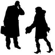 Stock Illustration of Vector silhouettes man and women.