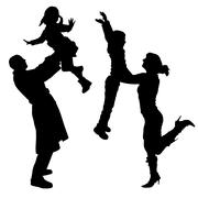 Vector silhouette of people. - stock illustration