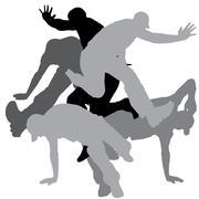 Vector silhouette of men. Stock Illustration