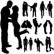 Vector silhouette of the couple. - stock illustration
