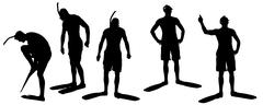 Vector silhouette of a diver. - stock illustration