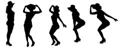 Stock Illustration of Vector silhouettes of sexy women.