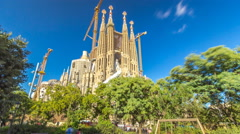 La Sagrada Familia timelapse hyperlapse - the impressive cathedral designed by Stock Footage