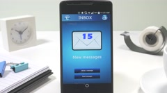 4K Email Inbox on Smartphone Receiving Messages Stock Footage
