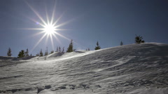 Winter landscape. Cold day, with snow shining in the sun. Stock Footage