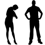 Vector silhouettes man and women Stock Illustration