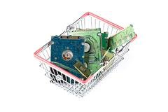 Shopping trolley filled with computer stuff Stock Photos